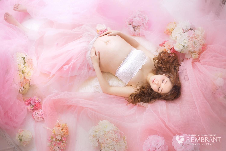 マタニティフォト 写真 ピンク