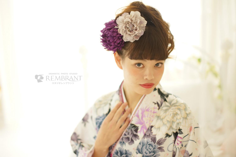卒業袴 紫×白