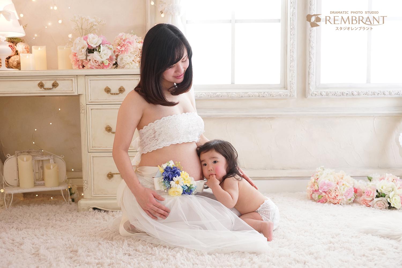 赤ちゃんと一緒にマタニティフォト
