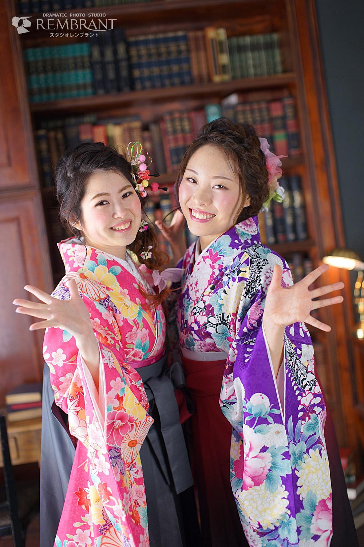 卒業袴撮影 お友達と一緒