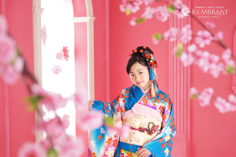 13参り ピンク 青い着物