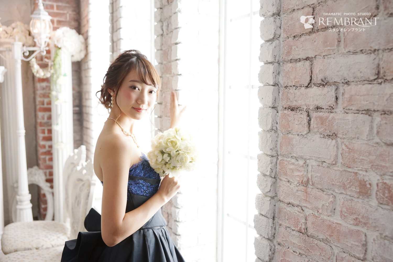 成人式 ドレス撮影 紺色