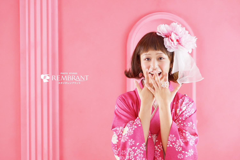 可愛い 成人式 前撮り ピンク
