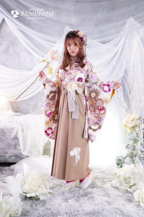 卒業袴-ねじ梅(茶)