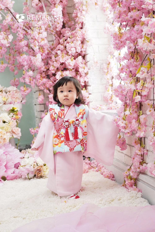 桃の節句衣装 水色×ピンク