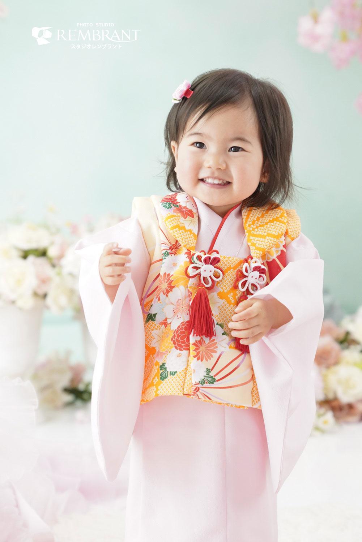 桃の節句衣装 オレンジ×ピンク
